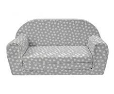 MuseHouse Kinderschlafsofa Kindersofa mit Bettfunktion Couch Kindermöbel Ausklapp Kindersessel, zum Schlafen und Spielen - 2 Sitzer (Hearts-F110)