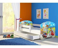 Clamaro Fantasia Weiß 160 x 80 Kinderbett Set inkl. Matratze, Lattenrost und mit Bettkasten Schublade, mit verstellbarem Rausfallschutz und Kantenschutzleisten, Design: 37 Feuerwehr