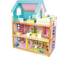 small foot 1557 Puppenhaus Residenz aus Holz, mit 3 Etagen, Fahrstuhl und Balkon, inkl. 23 Puppenmöbel als Zubehör
