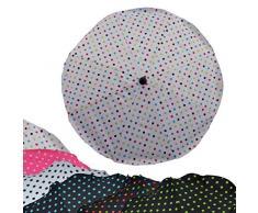 BAMBINIWELT Sonnenschirm für Kinderwagen Ø68cm UV-Schutz50+ Schirm Sonnensegel Sonnenschutz PUNKTE (weiß bunte Punkte)