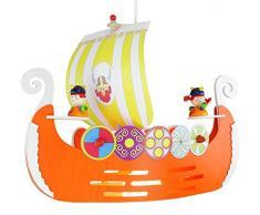 Elobra Kinderlampe Deckenleuchte Pendelleuchte Wikingerschiff, Kinderzimmer, Holz, orange, A++