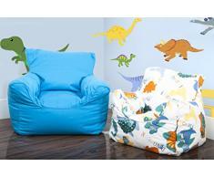 Lancashire Textiles Kinder-Mini-Sitzsack/Sessel, mit abnehmbarem Bezug, für Jungen und Mädchen Drill Blue