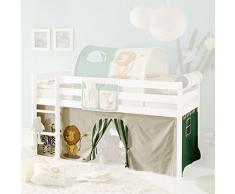 Vorhang Safari 3-teilig 100% Baumwolle Stoffvorhang Bettvorhang inkl Klettband für Hochbett Spielbett Etagenbett Stockbett Kinderbett