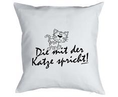 Tierisches Sofakissen - Cooles Geschenk Katzenbesitzer : Die mit der Katze spricht / Kissen mit Füllung - Farbe: weiss