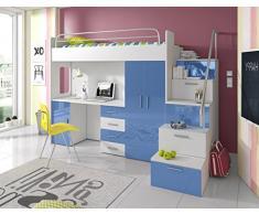 Furnistad Kinderzimmer Komplett Sky | Kinder Hochbett mit Treppe, Schreibtisch und Schrank (Option rechts, Weiß + Blau)