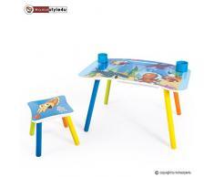 Homestyle4u 1122, Kindersitzgruppe Holz Set, Maltisch Kindertisch mit Stuhl, Bunt Meer
