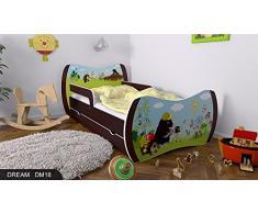 Kinderbett Wenge mit Matratze Bettkasten und Lattenrost - verschiedene Motive DM (Maulwurm, 160x80)