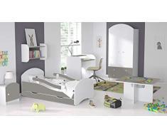 Childrens Beds Home Einzelbett Oscar Für Kinder Kinder Kleinkind Junioren Mit Schaumstoffmatratze, Aber ohne Schubladen (Weiß - Grau, 140x70)