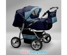 Akjax Gemini Zwillingskinderwagen - Geschwisterwagen - Zwillingsbuggy - Nr.36 dunkelblau / himmelblau