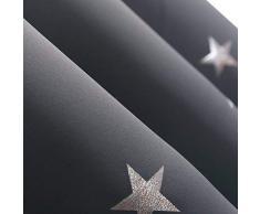 Deconovo Sterne Gardine Thermo Vorhang Ösenvorhänge Blickdicht Fenstervorhang Kinderzimmer 180x140 cm Dunkelgrau 2er Set