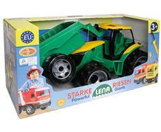Lena 02122 - Starke Riesen Traktor mit Anhänger, ca. 62 cm und 43 cm, großes Spielfahrzeug Set für Kinder ab 3 Jahre, robuster Trecker mit Hänger für Sandkasten, Strand und Kinderzimmer