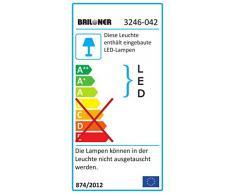 Briloner Leuchten 3246-042, LED Deckenleuchte Wohnzimmer, warm-weißes blendfreies Licht, Deckenstrahler 20 Watt und 2000 Lumen, Abmessungen Deckenlampe: 55 x 55 x 11,5 (LxBxH) cm, matt-nickel