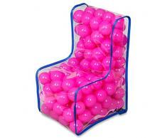 KADAX Kindersessel mit Bällen, Sitzsack, Kinderstuhl für Jungen, Mädchen, Spielzimmer, Kinderzimmer, Kindermöbel aus Kunststoff, Sessel, Babysessel, kindersicherer Sitz (rosa)
