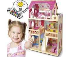 Leomark Traumvilla Holzpuppenhaus mit Möbeln Plus Doll Apart House Puppen + Weihnachtsbaum und LED-Beleuchtung mit Fernbedienung