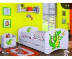 HB Kinderbett mit Matratze und Bettkasten - NEU , Verschiedene Motive Weiss (160x80cm mit Schublade, DRACHE)