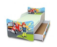 Best For Kids Kinderbett mit Schaummatratze mit TÜV Zertifiziert 70x140 - Feuerwehr MIT SCHUBLADE