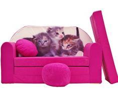 Pro Cosmo H6 Kinder Sofa Bett mit Puff/Fußbank/Kissen, Stoff, Mehrfarbig, 168 x 98 x 60 cm