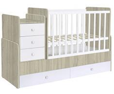 Polini Kids mitwachsendes Kombi-Kinderbett Simple 1100 Kommode ulme-weiß,1227.41