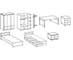 Jugendzimmer Komplett Set FILOU 7tlg Bett Bettkästen Schrank Garderobe Nachttisch Schreibtisch mit Rollcontainer in Alpinweiß