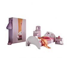 Kinderzimmer Sternchen 4-teilig lila weiß Bett Nachtkommode Kleiderschrank Kinderbett Nako Nachtschrank Schrank Mädchen Jugendzimmer 1291