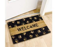 Relaxdays Fußmatte Kokos Motiv TATZE 40 x 60 cm Kokosmatte mit rutschfester PVC Unterlage Fußabtreter aus Kokosfaser als Schmutzfangmatte und Sauberlaufmatte Fußabstreifer für Außen und Innen, schwarz