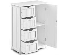 DREAMADE Kommode mit Schubladen, Sideboard Weiß, Highboard aus Holz, Badezimmerschrank Dielenkommode, Standschrank Mehrzweckschrank