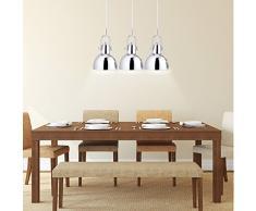 Relaxdays Pendelleuchte 3-flammig, dekorative Schirme, höhenverstellbar, H x B x T: 156 x 55 x 9 cm, silber[Energieklasse A++]