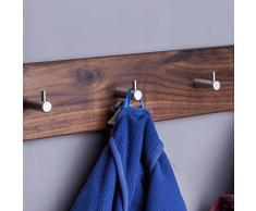 WOODS Hakenleiste Garderobe Holz massiv I Garderobenleiste Landhaus I Moderne Wandgarderobe aus Holz handgefertigt in Bayern I Handtuchhalter I Garderobenpaneel (55cm (5 Haken), Nussbaum)