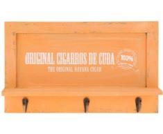 Nostalgisches Holz Schlüsselbrett - Garderobe mit 3 Haken - Brett mit Ablage - Schlüsselablage bzw. Handy-Ablage - Hakenleiste, Farbe:Orange