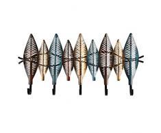 Garderobe Moderne Schmiedeeisen Blatt dekorative Wand Mantel Wandhalter Ornaments Tür Porch Key-Rack Kleiderhaken Wandbehang Crafts Kleiderhaken (Größe : 5 Hooks)
