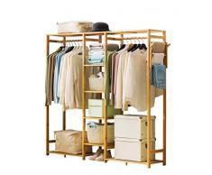 JANRON Bambus Kleiderständer, Garderobenständer mit Schuhablage Kleiderstange Garderobe Rollkleiderständer Rollgarderobe stabil für Schlafzimmer Flur - 123X30X145CM/149X30X147CM