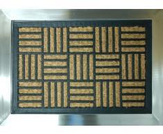 Edelstahl Fussmatte mit Kokos-Einsatz gestreiftes Muster