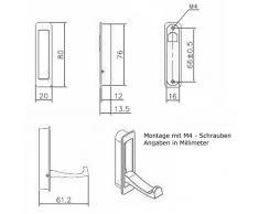SO-TECH® Moderner Klapphaken Garderobenhaken Kleiderlüfter Huthaken klappbar Zilly zum Einlassen | 80 x 20 / 66 mm | Chrom matt