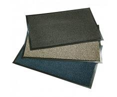 axentia 116919 Fußmatte für die Haustür Innen und Außen, Schmutzfangmatte, Plastik, anthrazit / beige / blau, 60 x 90 x 0,7 cm