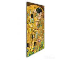 Wallario Wandgarderobe aus Glas in Größe 50 x 125 cm in Premium-Qualität, Motiv: Der Kuss von Klimt | 7 Kleiderhaken zum Aufhängen von Jacken