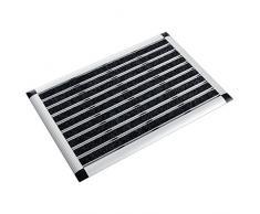 casa pura® Aluminium - Fußabstreifer für außen und innen   Fußmatte mit hoher Reinigungswirkung & attraktiver Metall Optik   Fußmatten für die Haustür   2 Größen (42x60cm)