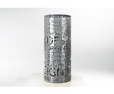 Kobolo Dekorativer und Moderner Schirmständer Letters aus grauem Metall