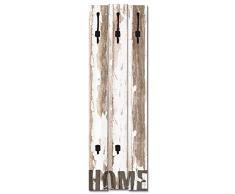 Artland Wandgarderobe Holz Design mit 5 Haken Garderobe mit Motiv 45x140 cm Shabby Chic Landhaus Schriftzug Kunst Used Look Zuhause Home T9ID
