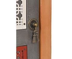 ts-ideen Kommode Schrank Regal Ablage Flur Diele Bad Küche Kinderzimmer Vintage Antik Shabby Design Used Style Grau Tür mit Buntem Muster