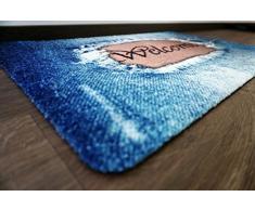 deco-mat Designer Fussmatte für Haustür, Flur, Innen und Aussen   Fussmatten rutschfest und waschbar   Praktische Schmutzfangmatte – Fußabtreter   Fussabstreifer – BLAU 75 x 120 cm