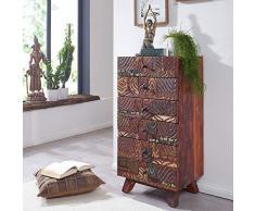 FineBuy Highboard CARVA 50x101x40 cm Massivholz Vintage Anrichte Wohnzimmer | Design Kommode Flur | Dielenkommode Echtholz | Flurschrank massiv | Schubladenkommode Holz bunt