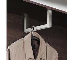 Moderne Wandgarderobe Paneel & Flur - H7005 Garderobenbügel Edelstahl Garderobenstange U-Form | Länge 300 mm | Kleiderbügelhalter für Fachboden-Montage | MADE IN GERMANY | Möbelbeschläge von GedoTec®