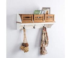 CARO-Möbel Wandgarderobe CULTURA in braun/weiß Garderobenleiste Hängegarderobe Wandregal im angesagtem Vintage Look Landhaus Stil