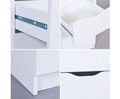 Kommode Vintage Shabby Weiss Matt mit acht Schubladen - Schubladenkommode Flurschrank Dielenkommode im Landhausstil