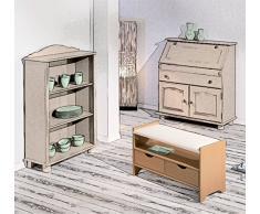 Schuhschrank Sitzbank Schuhregal Schuhbank Schuhtruhe 2 Schubladen Stauraum von H24living mit Polster aus Kiefer massiv 76,6 x 45 x 33,5 cm
