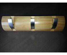 B-WARE Garderobe Hakenleiste Garderobenleiste Kleiderhaken Klappgarderobe Holz / Metall Kiefer / matt chrom mit 3 Klapphaken 300 x 86 x 31mm