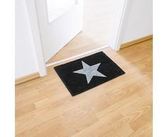 Relaxdays Fußmatte Kokos STERN 40 x 60 cm Kokosmatte mit rutschfester PVC Unterlage Fußabtreter aus Kokosfaser als Schmutzfangmatte und Sauberlaufmatte Fußabstreifer für Außen und Innen Matte, schwarz