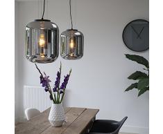 QAZQA Modern/Retro 2er Set Design Hängelampen schwarz mit Rauchglas - Bliss/Innenbeleuchtung/Wohnzimmerlampe/Schlafzimmer/Küche/Metall Rund LED geeignet E27 Max. 1 x 60 Watt