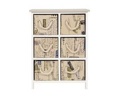 ts-ideen Landhaus Kommode Sideboard Schrank Holz Weiß Aufbewahrung 6 Schubladen Stoff Flur Wohnzimmer Schlafzimmer Büro Diele