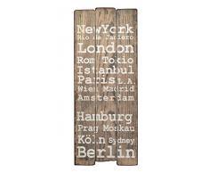 Wandgarderobe Flurgarderobe London Hakenleiste Holz 100 x 40 cm im Shabby Vintage Landhaus Stil